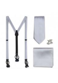 Silver Tie and Suspender Set