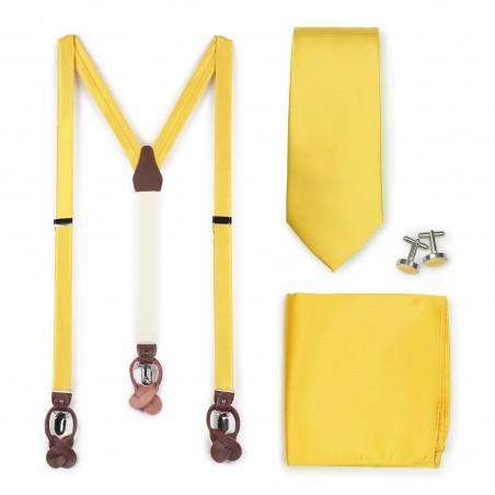 Sunflower Yellow Suspender Necktie Set