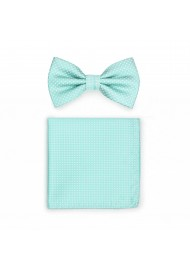 Pin Dot Bow Tie and Hanky Set in Seamist