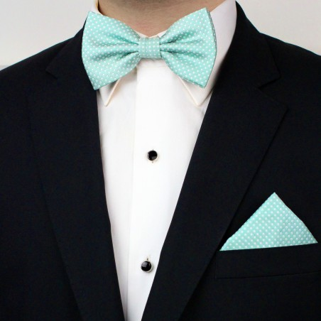 Pin Dot Bow Tie and Hanky Set in Seamist Styled
