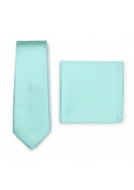 Narrow Pin Dot Tie and Hanky Set in Seamist