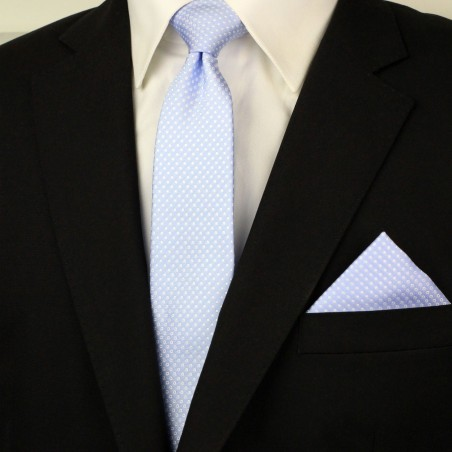 Narrow Pin Dot Tie and Hanky Set in Baby Blue Styled