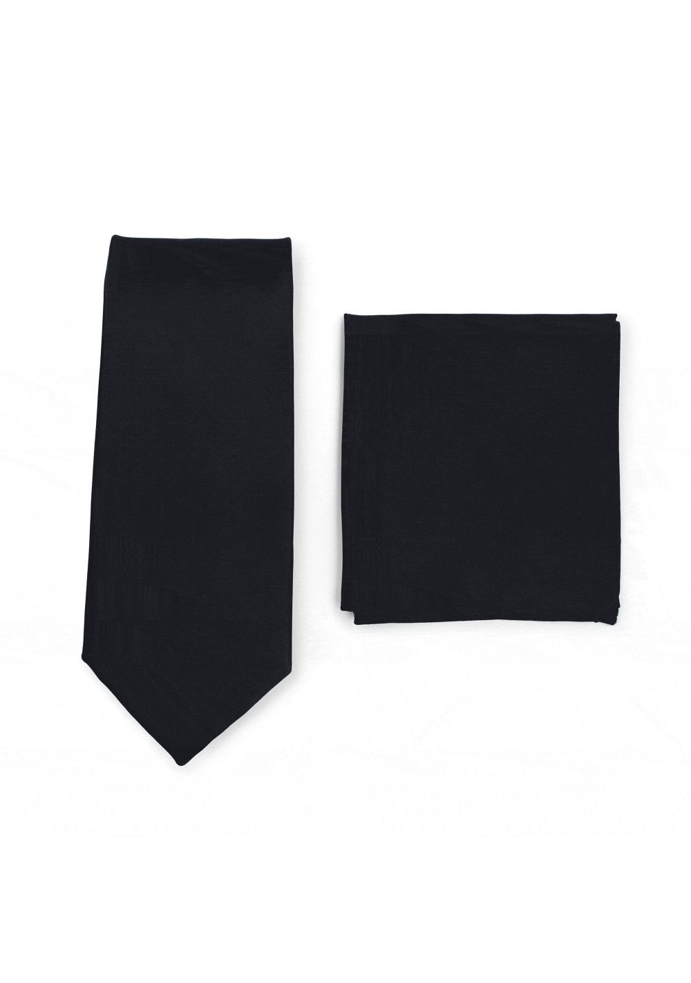 Solid Satin Necktie and Hanky Set in Jet Black