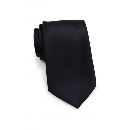 Solid Satin Necktie in Jet Black