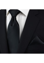 Solid Satin Necktie and Hanky Set in Jet Black Styled