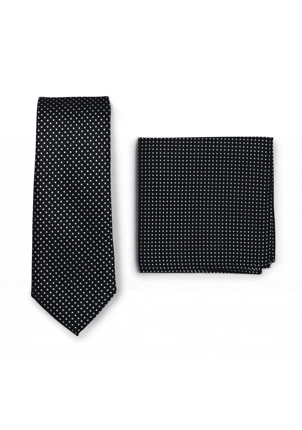 Slim Pin Dot Tie and Hanky Set in Black
