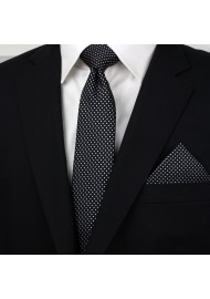 Slim Pin Dot Tie and Hanky Set in Black Styled