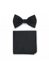 Black Pin Dot Bow Tie + Hanky Set