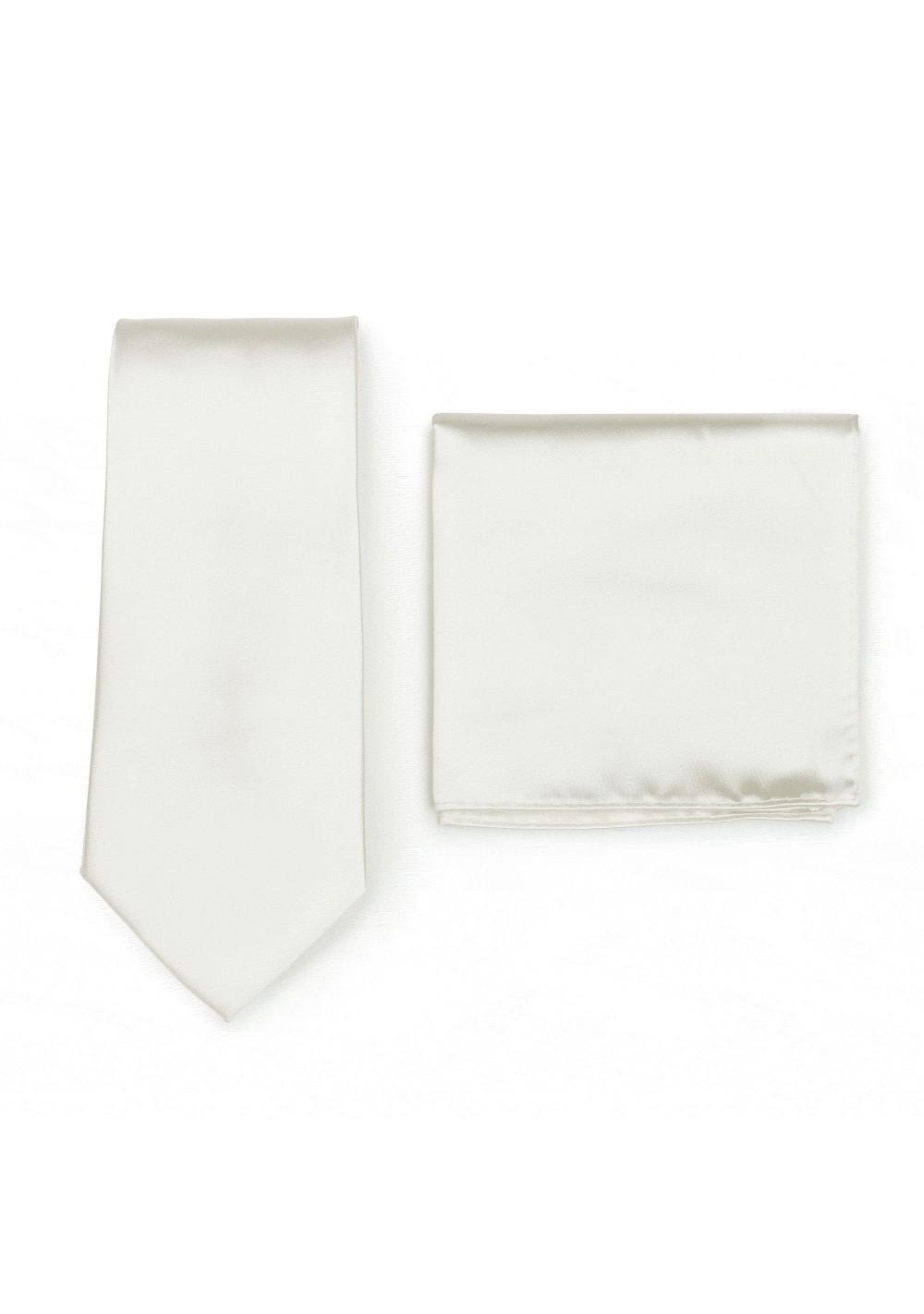 Solid Satin Tie Set in Solid Cream