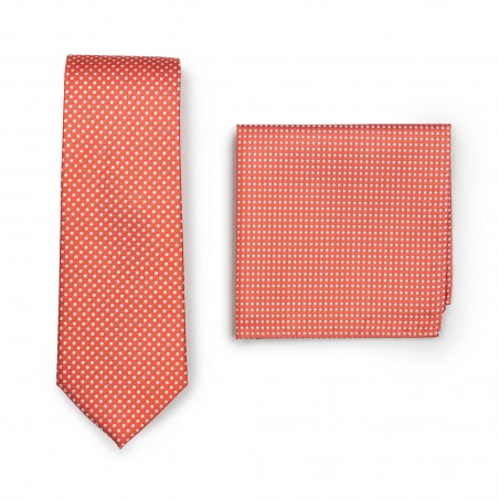 Coral Mens Tie and Hanky Set