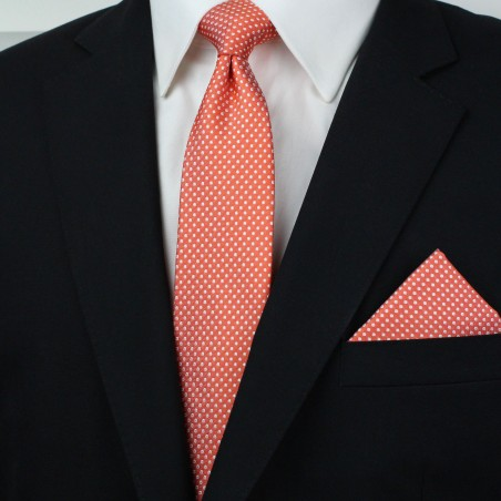 Coral Mens Tie and Hanky Set Styled