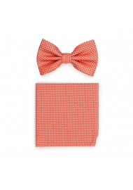Coral Pin Dot Bowtie and Hanky Set