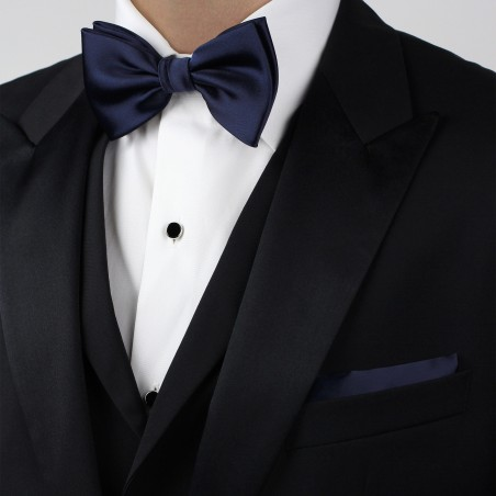 Classic Navy Bow Tie and Hanky Set Styled