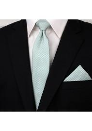 Soft Mint Pin Dot Tie Set Styled