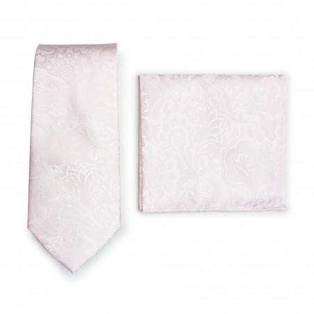 Soft Blush Paisley Tie + Hanky Set