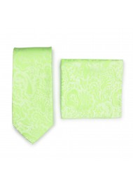 Pistacchio Green Paisley Necktie Set