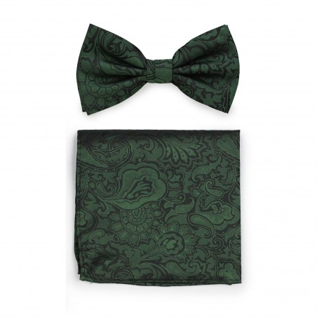 Pine Green Paisley Bowtie Set