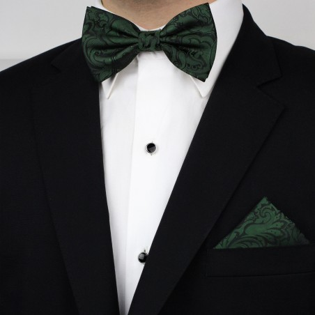 Pine Green Paisley Bowtie Set Styled