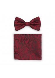 Bordeaux Red Paisley Bowtie Set