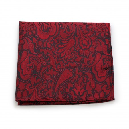 Bordeaux Red Paisley Pocket Square