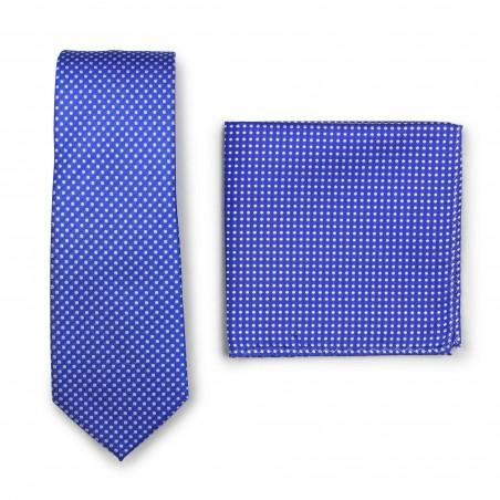 Horizon Blue Pin Dot Tie and Hanky Set