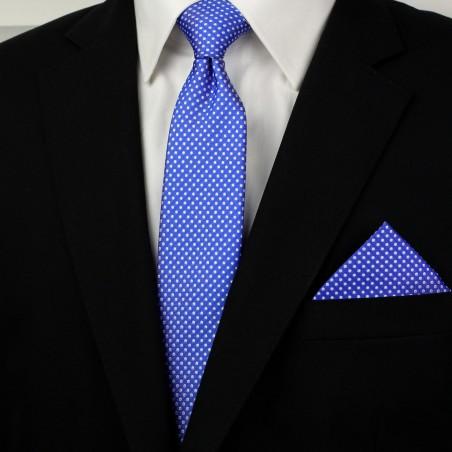Horizon Blue Pin Dot Tie and Hanky Set Styled