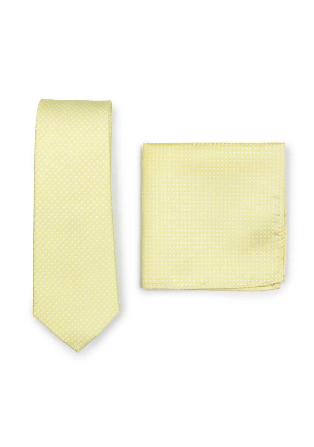 Pastel Yellow Pin Dot Tie and Hanky Set