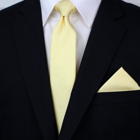Pastel Yellow Pin Dot Tie and Hanky Set Styled