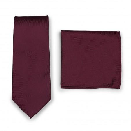 Maroon Red Textured Tie Set