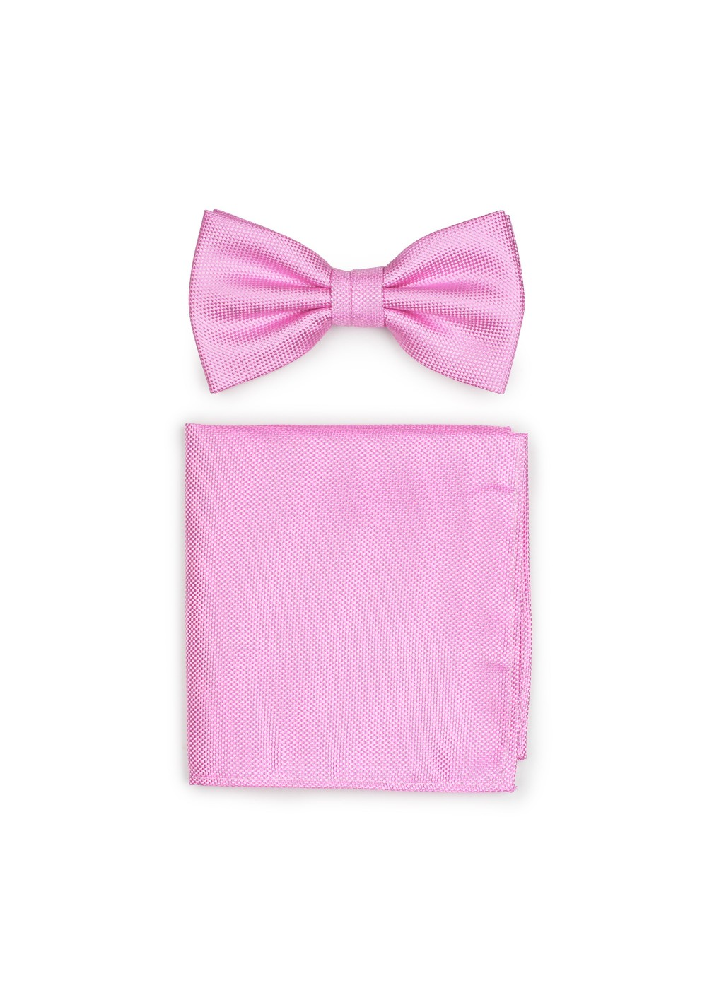 Carnation Pink Bowtie Set in Matte Finish