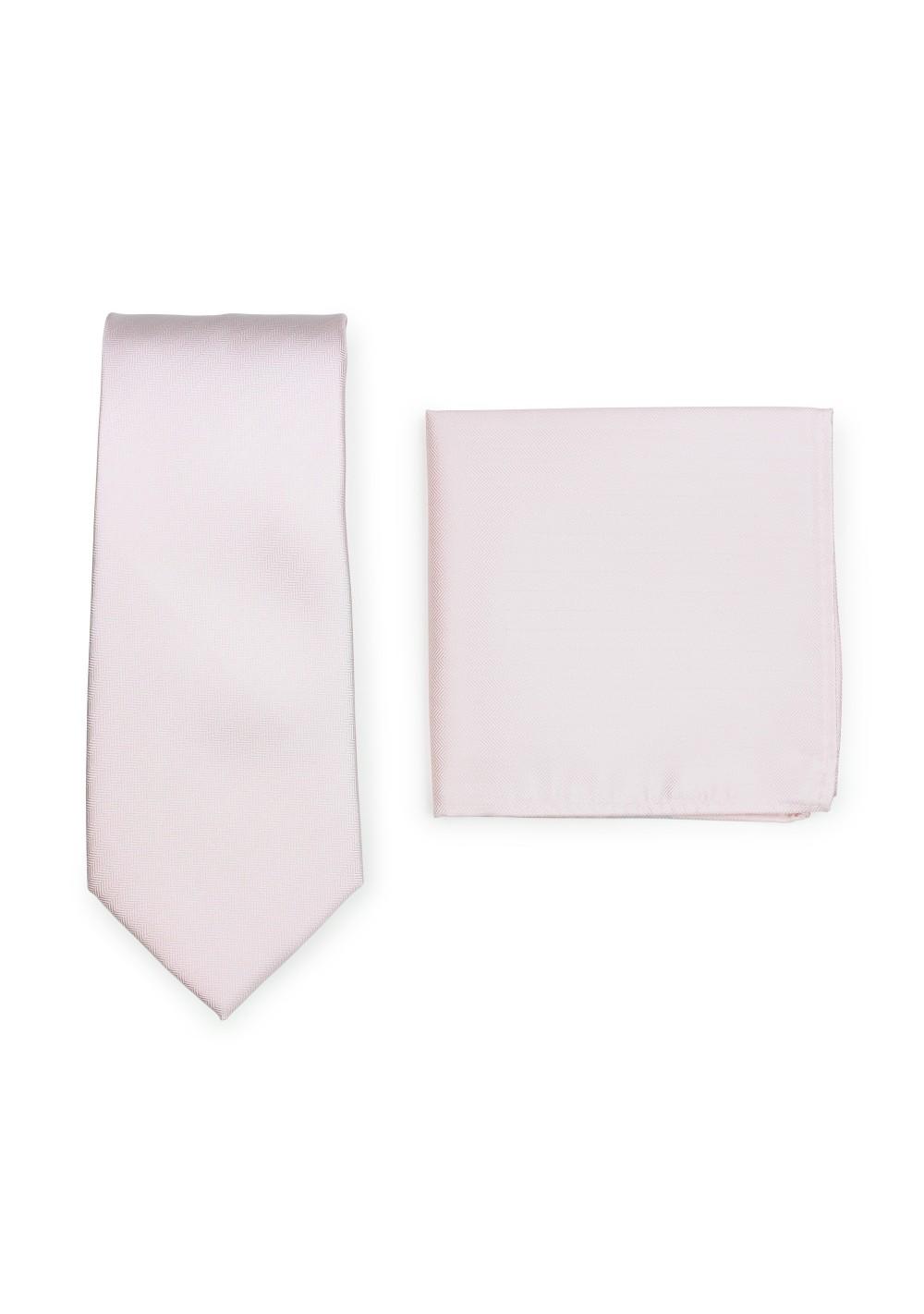 Herringbone Weave Necktie Set in Blush