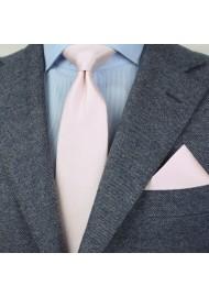 Herringbone Weave Necktie Set in Blush Styled