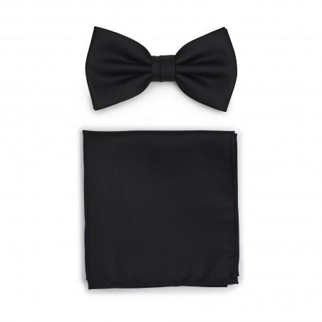 Matte Black Bow Tie + Hanky Set