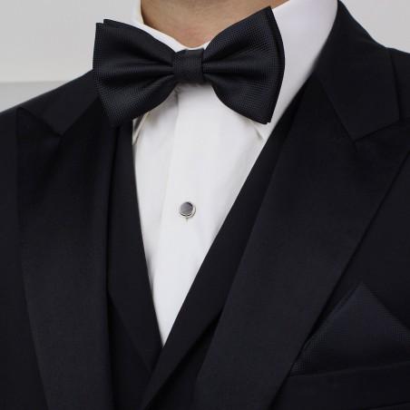 Matte Black Bow Tie + Hanky Set Styled