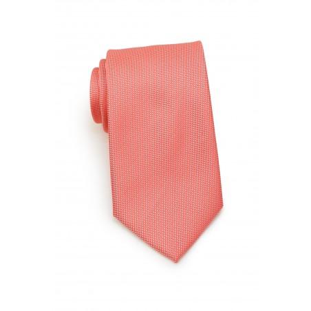 Matte Textured Tie in Neon Coral