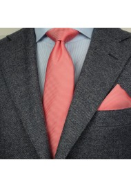 Matte Textured Tie + Hanky in Neon Coral Styled