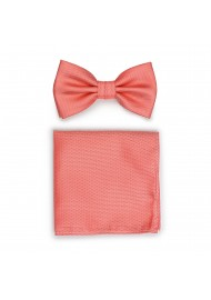 Neon Coral Bow Tie Set in Matte Finish