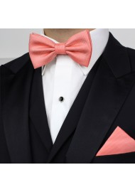 Neon Coral Bow Tie Set in Matte Finish Styled