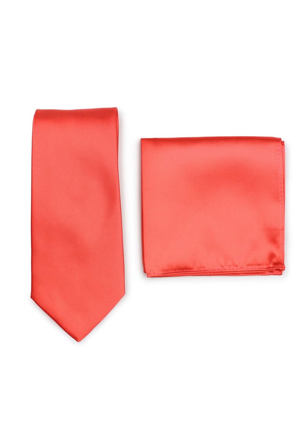 Noen Coral Necktie and Hanky Set