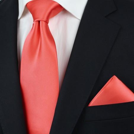 Noen Coral Necktie and Hanky Set Styled