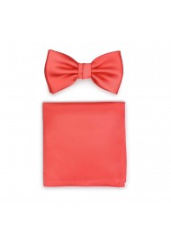 Neon Coral Red Bow Tie Set