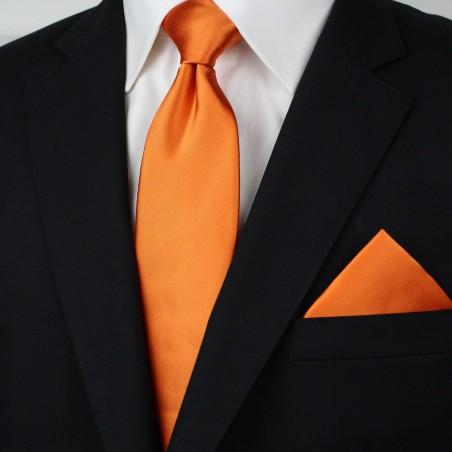 Persimmon Orange Necktie Set Styled