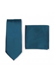 Dark Teal Necktie + Hanky Set