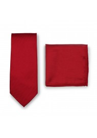 Bold Red Tie Set in Matte Finish
