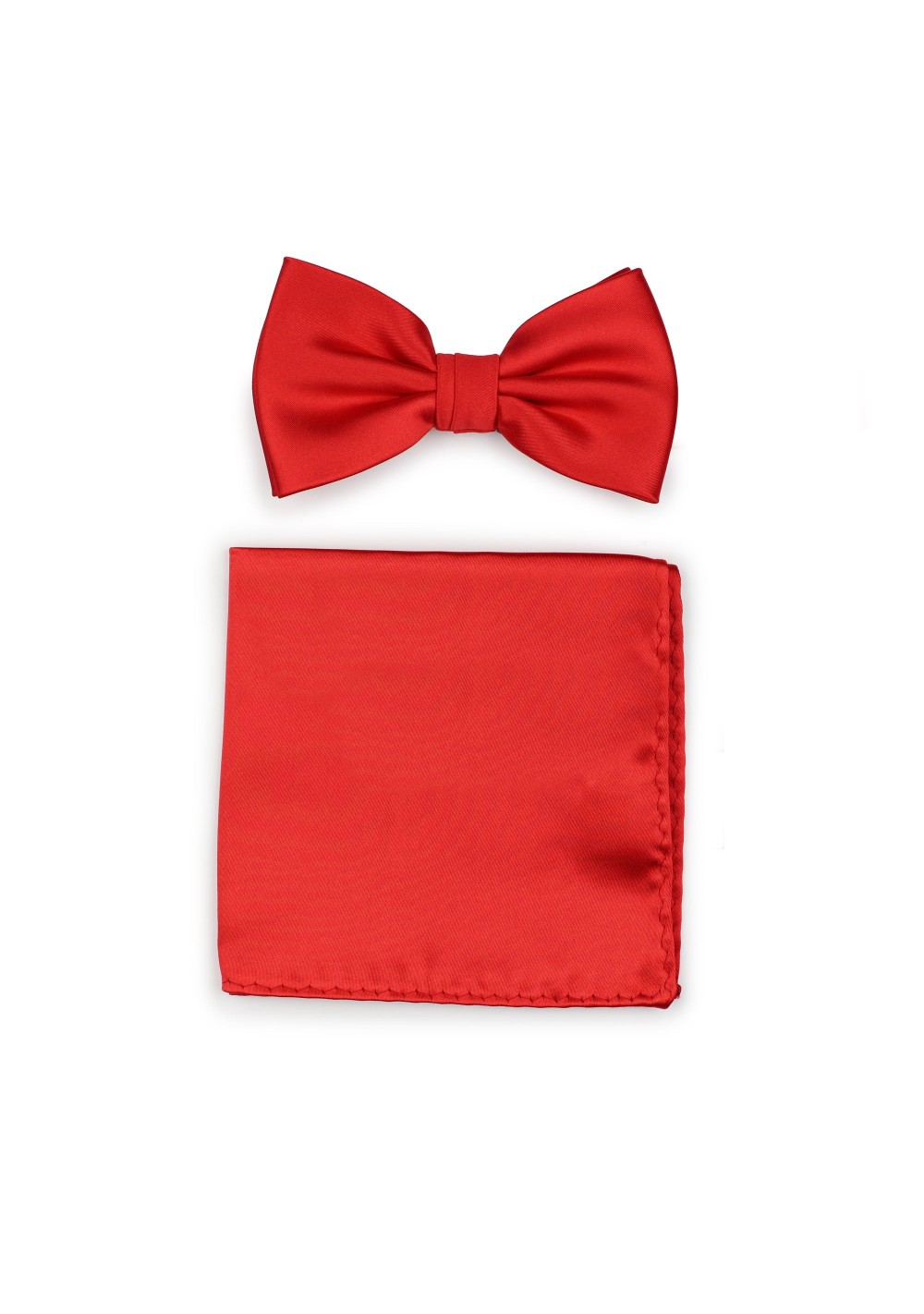Bright Red Mens Bow Tie + Hanky Set