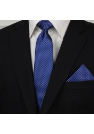 Royal Blue Pin Dot Tie and Hanky Set Styled