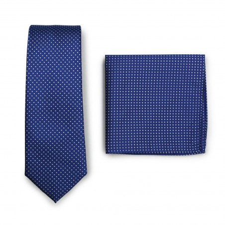 Royal Blue Pin Dot Tie and Hanky Set