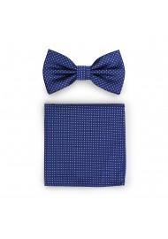 Royal Blue Pin Dot Bow Tie and Pocket Square Set