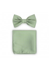 Sage Bowtie and Hanky Set with Pin Dots