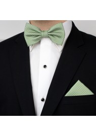 Sage Bowtie and Hanky Set with Pin Dots Styled